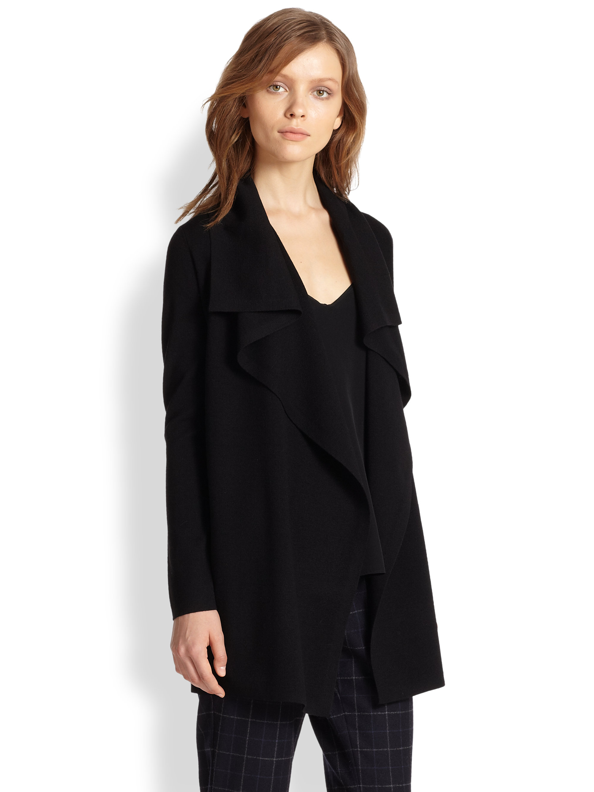 Lyst Theory Trincy Draped Stretch Wool Cardigan In Black