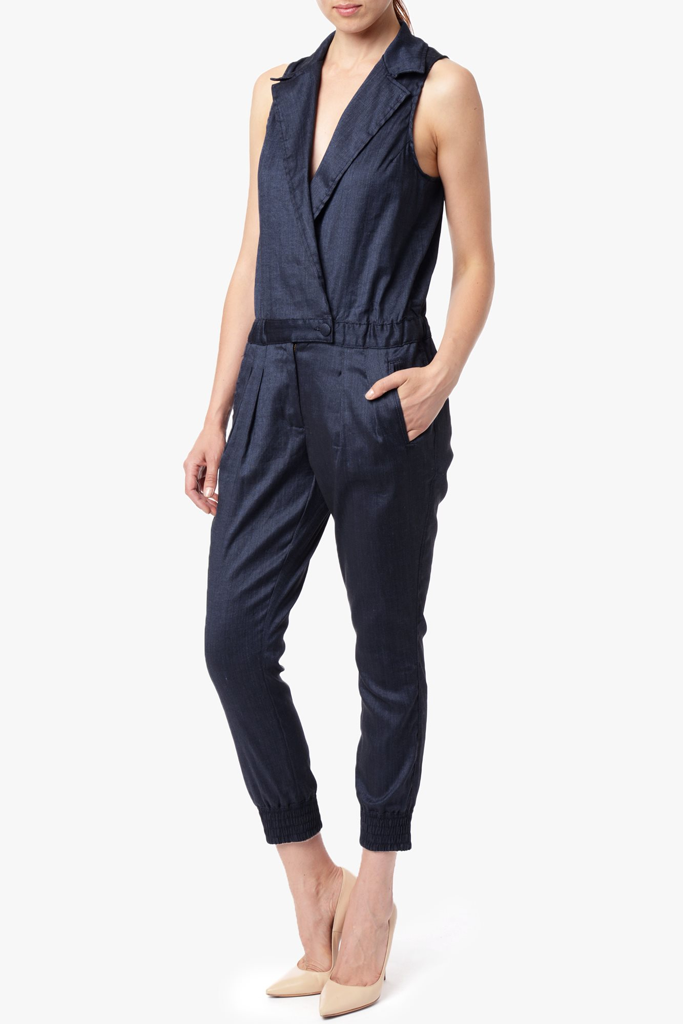 7 for all mankind chambray jumpsuit in blue navy chambray for Chambray 7 s