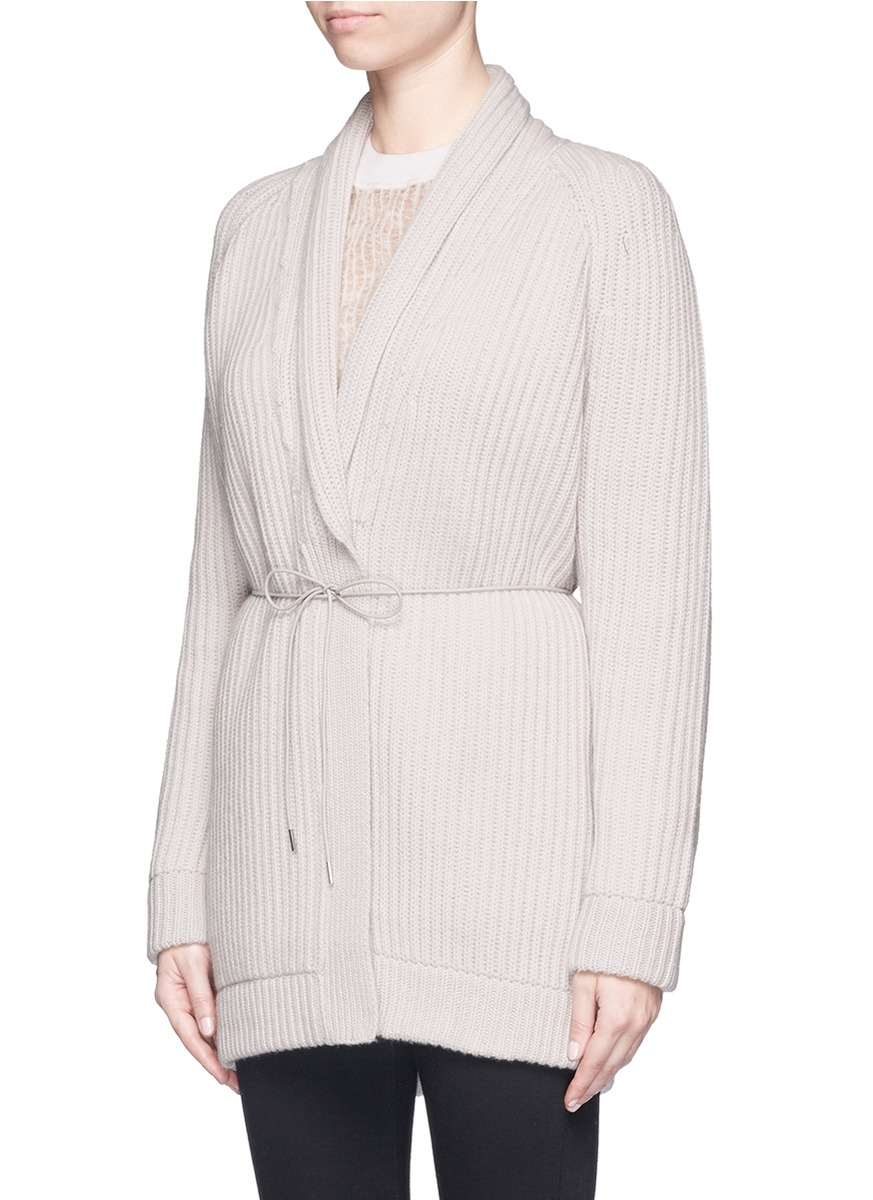 Helmut lang Shawl Collar Wool-cashmere Cardigan in Natural | Lyst