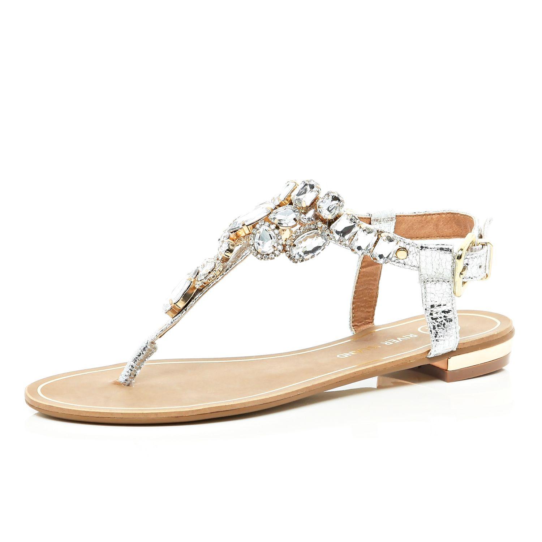 c76d3308175a18 River Island Silver Gem Embellished T Bar Sandals in Metallic - Lyst
