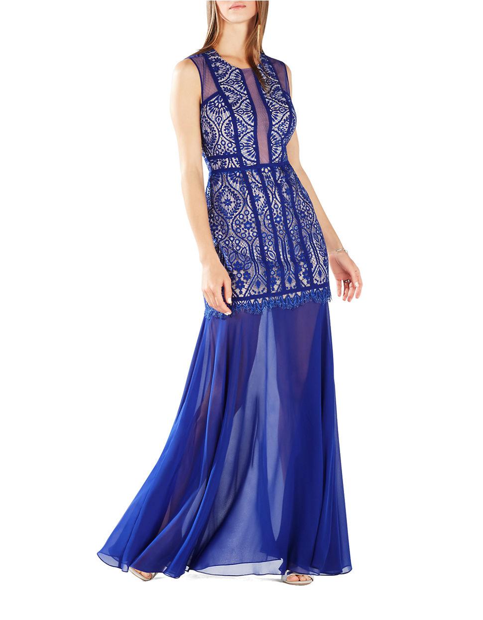 bcbgmaxazria lace chiffon skirt dress in blue lyst