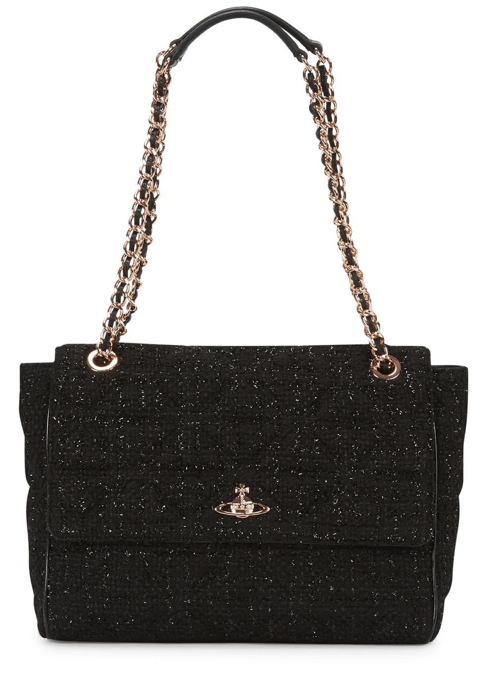 9f7b1565b799 Vivienne Westwood Sharlenemania Large Tweed Shoulder Bag in Black - Lyst