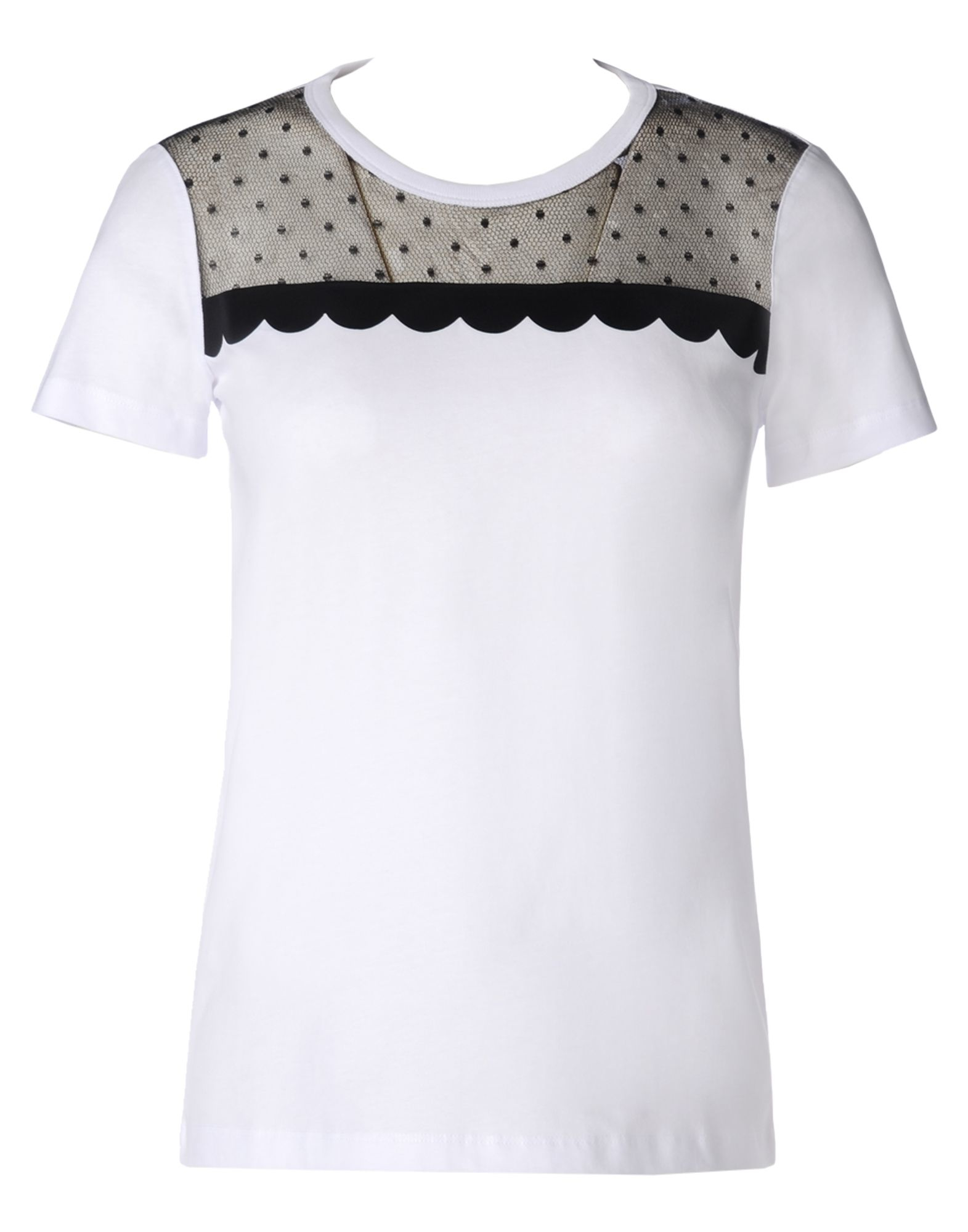 Red valentino scallop and tulle t shirt in white lyst for Red valentino t shirt
