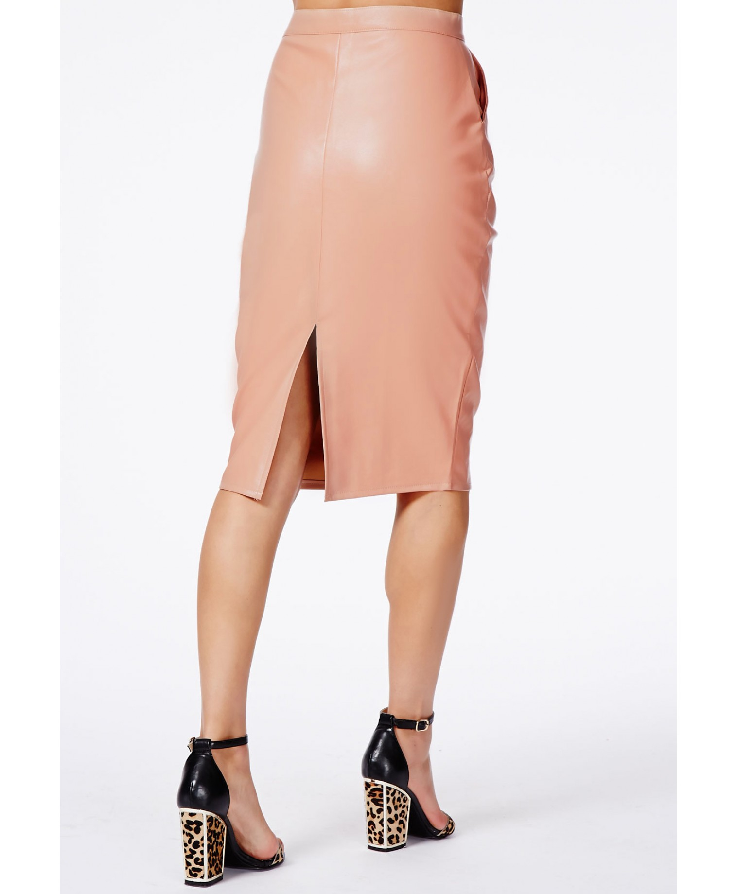 Missguided Mariota Peach Faux Leather Pencil Skirt in Natural | Lyst