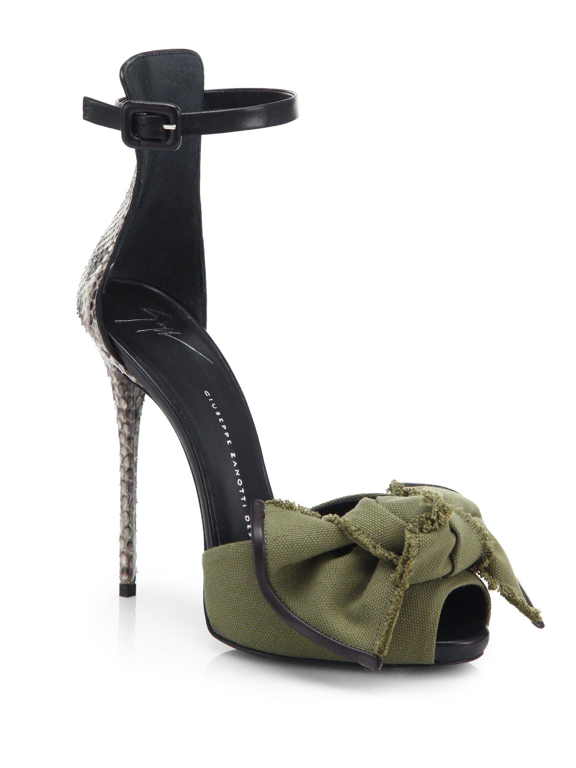 dbbcc0d046a05 ... Lyst - Giuseppe Zanotti Python Canvas Bow Sandals in Green ...