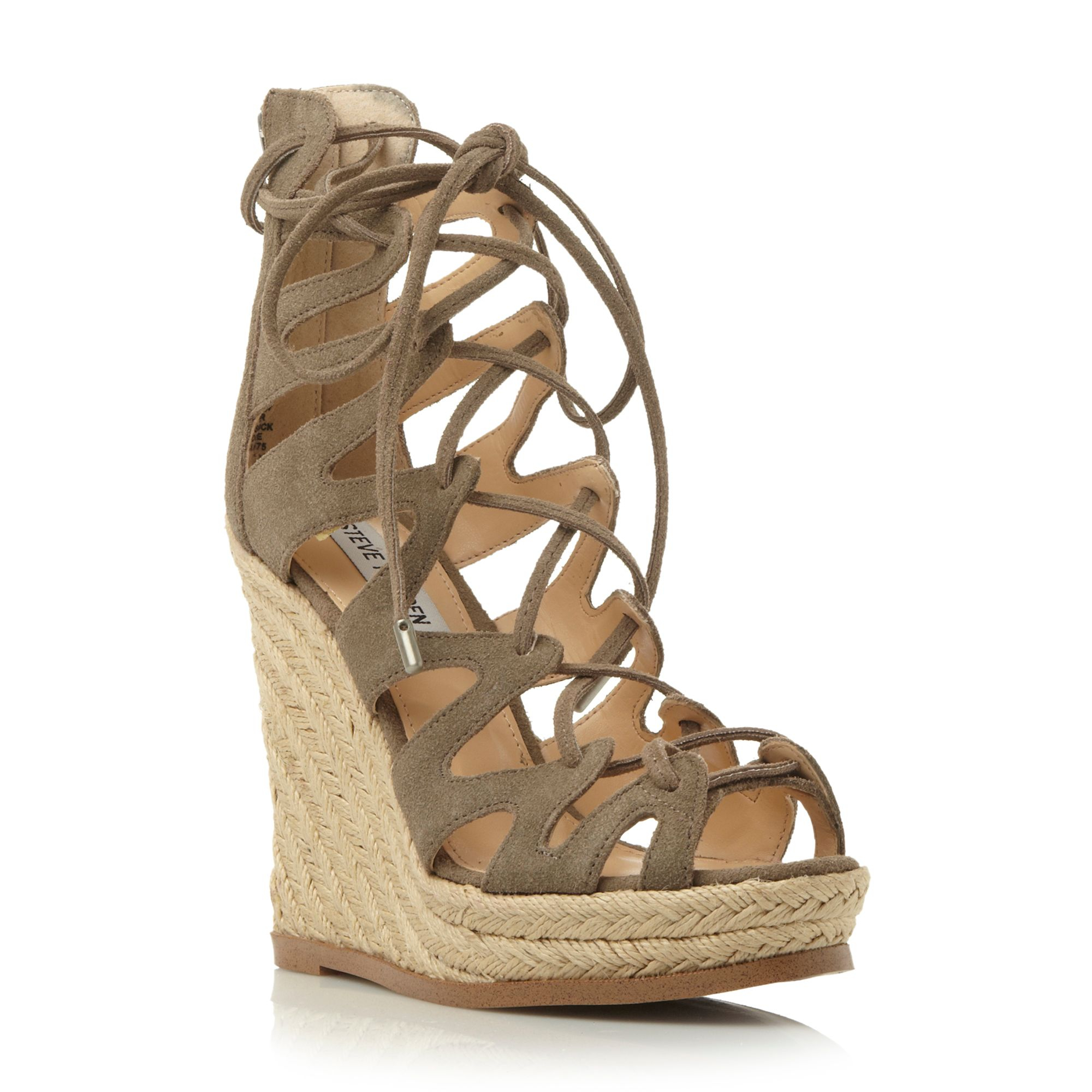 steve madden theea lace up wedge sandals in brown lyst