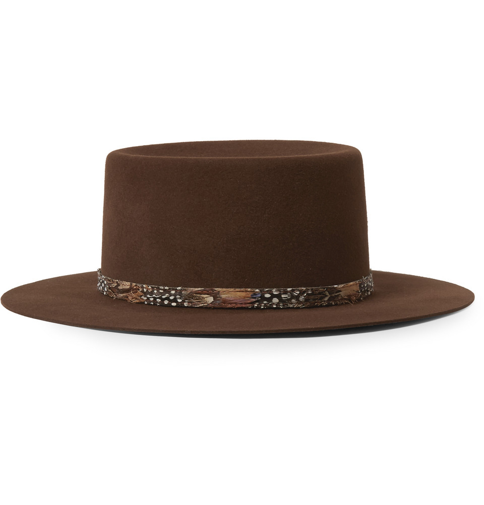 e4a3c0547 Saint Laurent Feather-Trimmed Rabbit-Felt Fedora Hat in Brown for ...