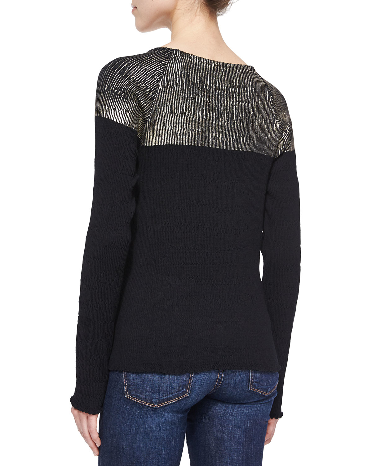 Suno long sleeve colorblock top in black lyst for Adam lippes women s long sleeve vee t shirt