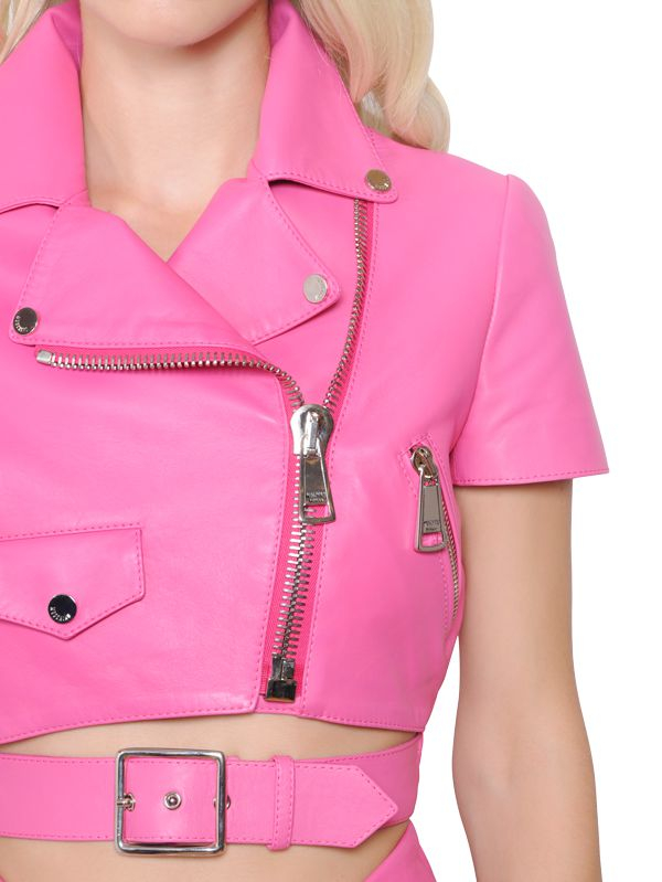 Moschino Short Sleeve Cropped Leather Jacket in Pink | Lyst