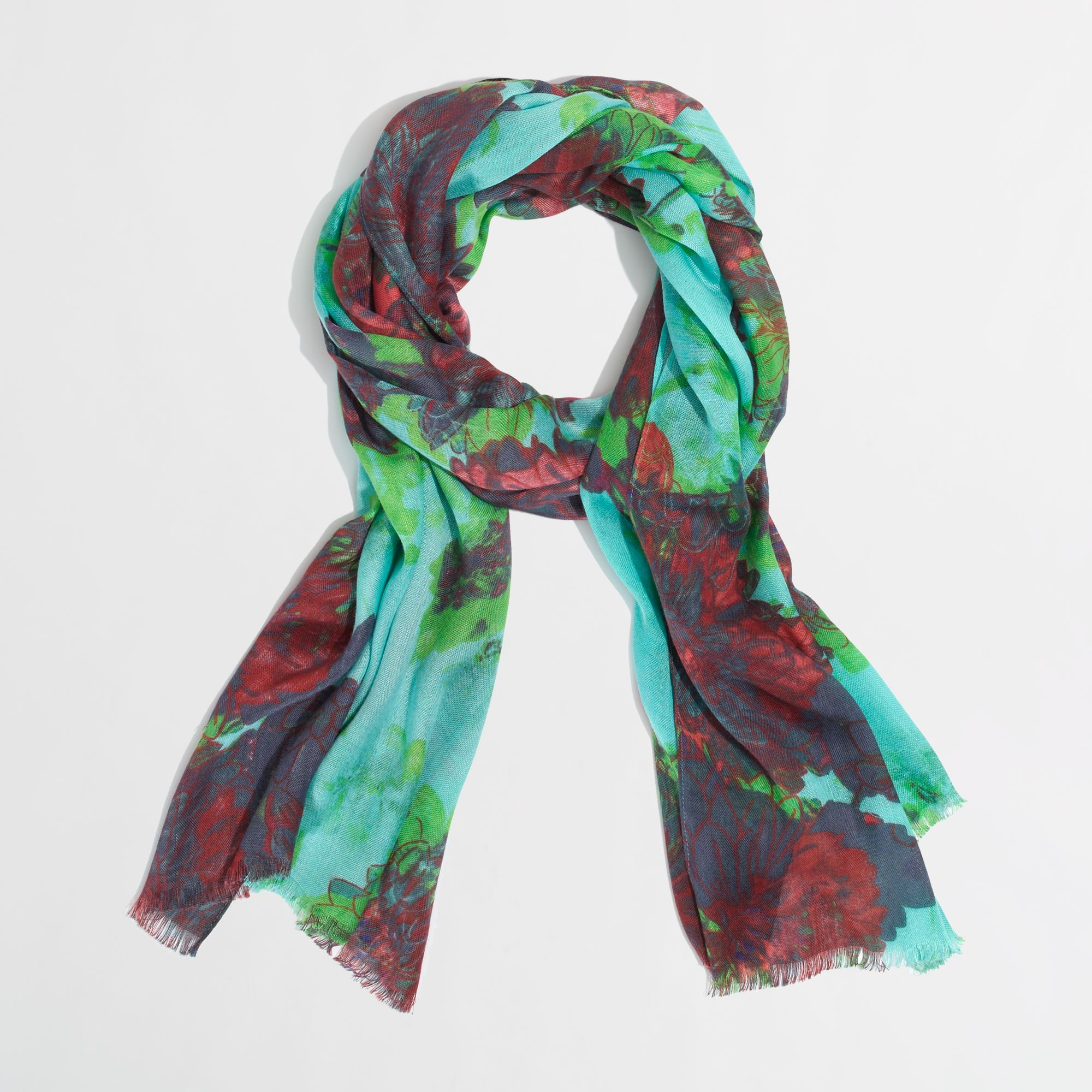 j crew factory printed tissue scarf lyst