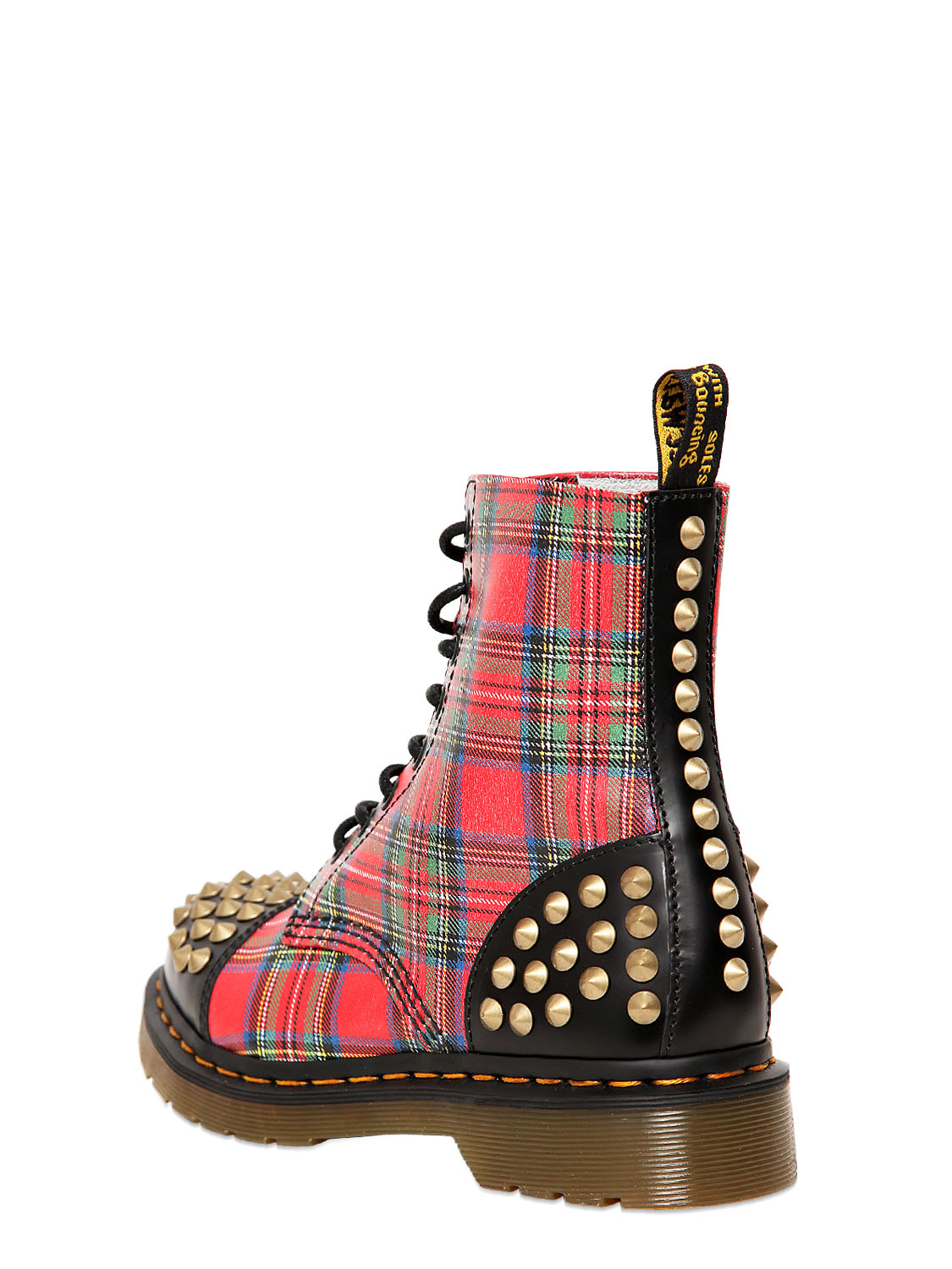 Dr Martens 30mm Tartan Printed Calfskin Boots In Red Lyst