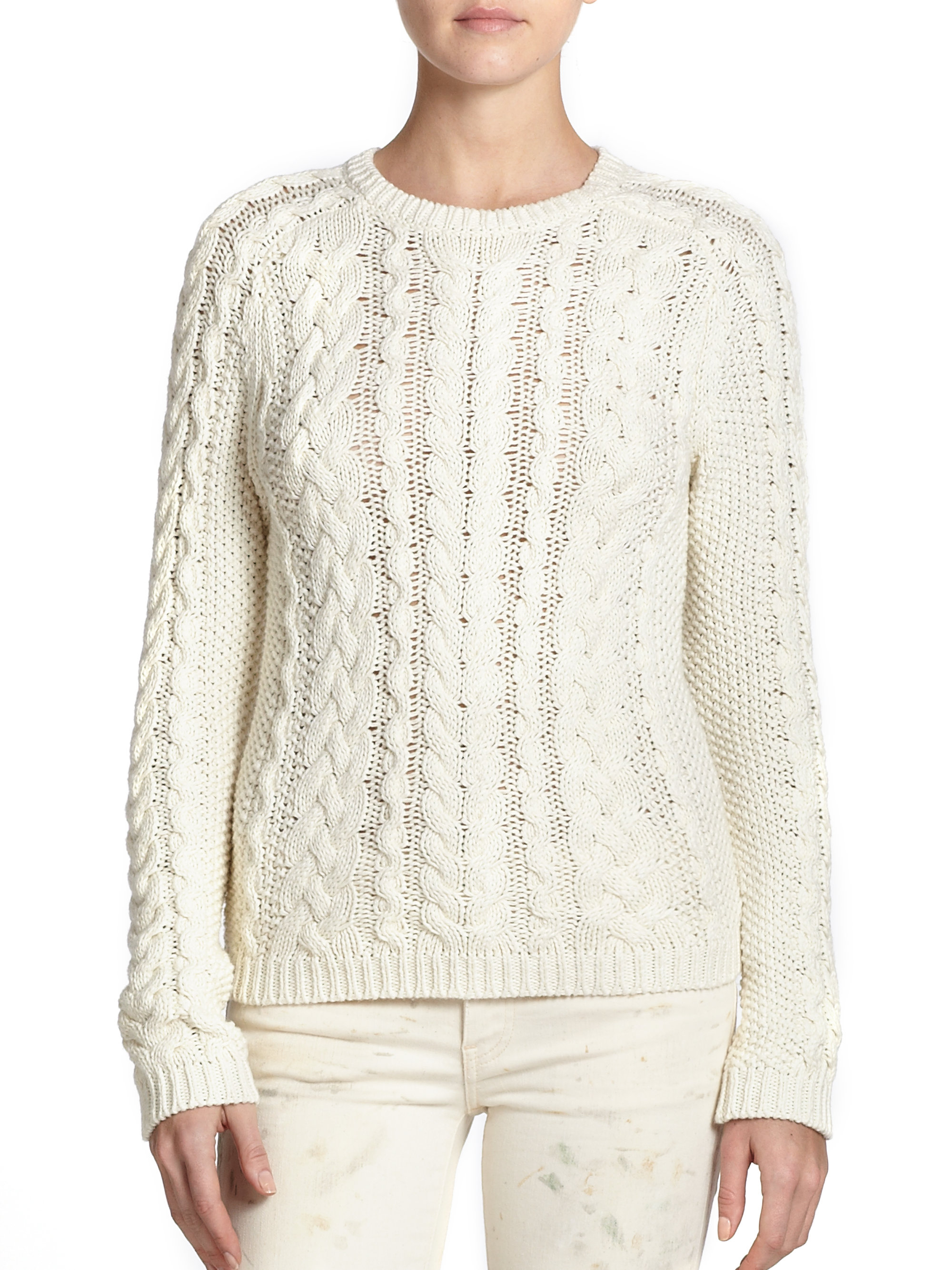 Polo ralph lauren Cotton Cable-Knit Sweater in Natural | Lyst