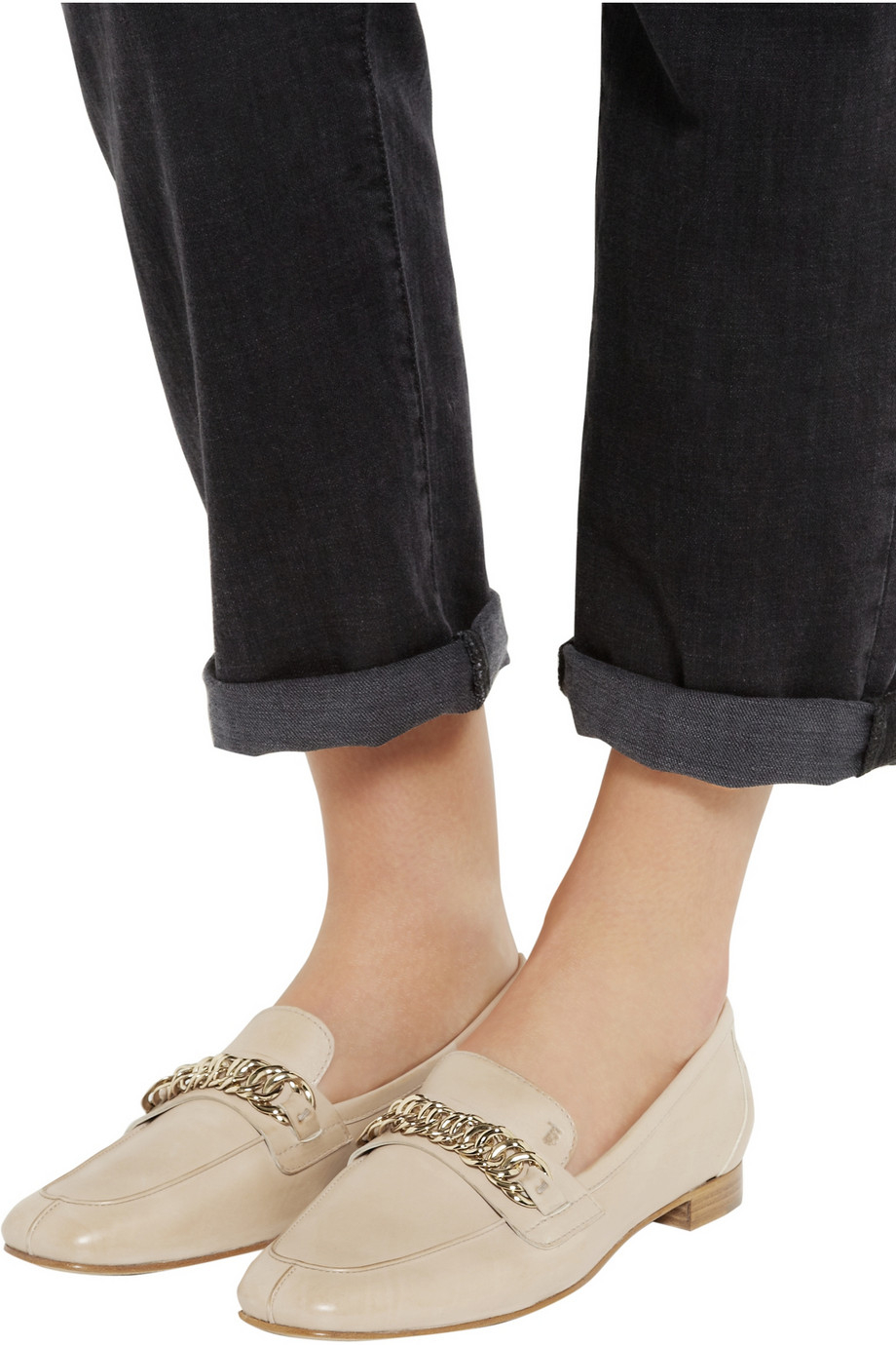 0754661da2b Lyst - Tod s Chain-Embellished Leather Loafers in Pink