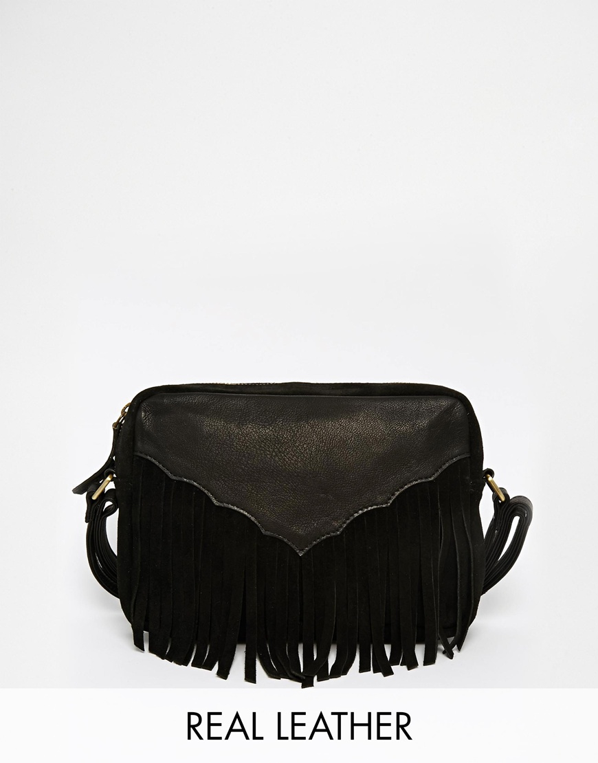 7ca5b6856 ASOS Western Tassel Suede And Leather Cross Body Bag - Black in ...