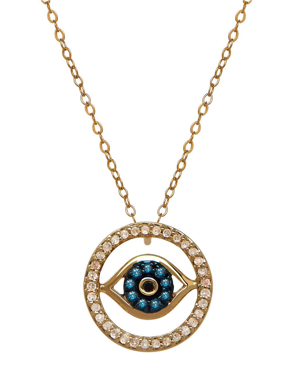 lord taylor 14k gold diamond evil eye necklace in. Black Bedroom Furniture Sets. Home Design Ideas
