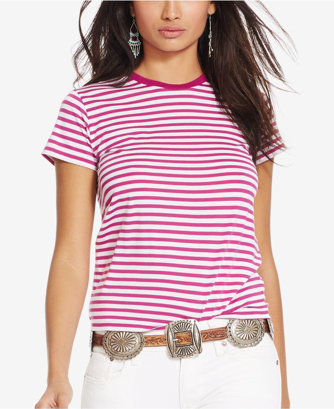 Crew Lauren Striped Ralph Neck Pink Polo T Shirt shtrxQCd
