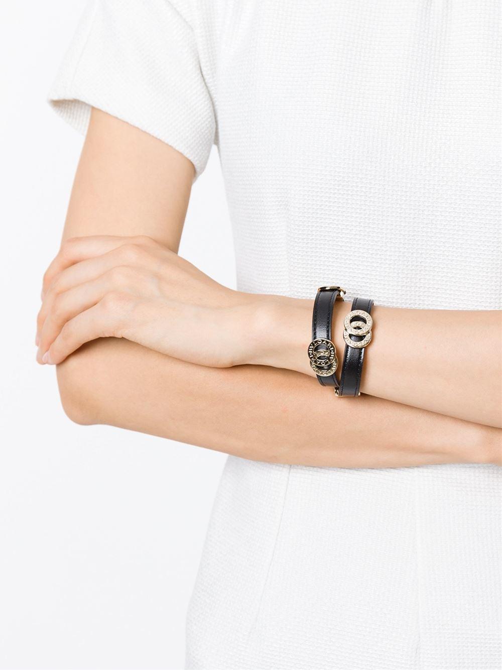 Lyst Bvlgari Double Coiled Bracelet In Black