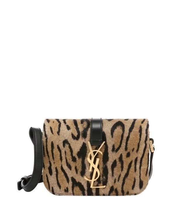 Saint laurent Jaguar Print Calf Hair \u0026#39;ysl\u0026#39; Logo Mini Crossbody Bag ...