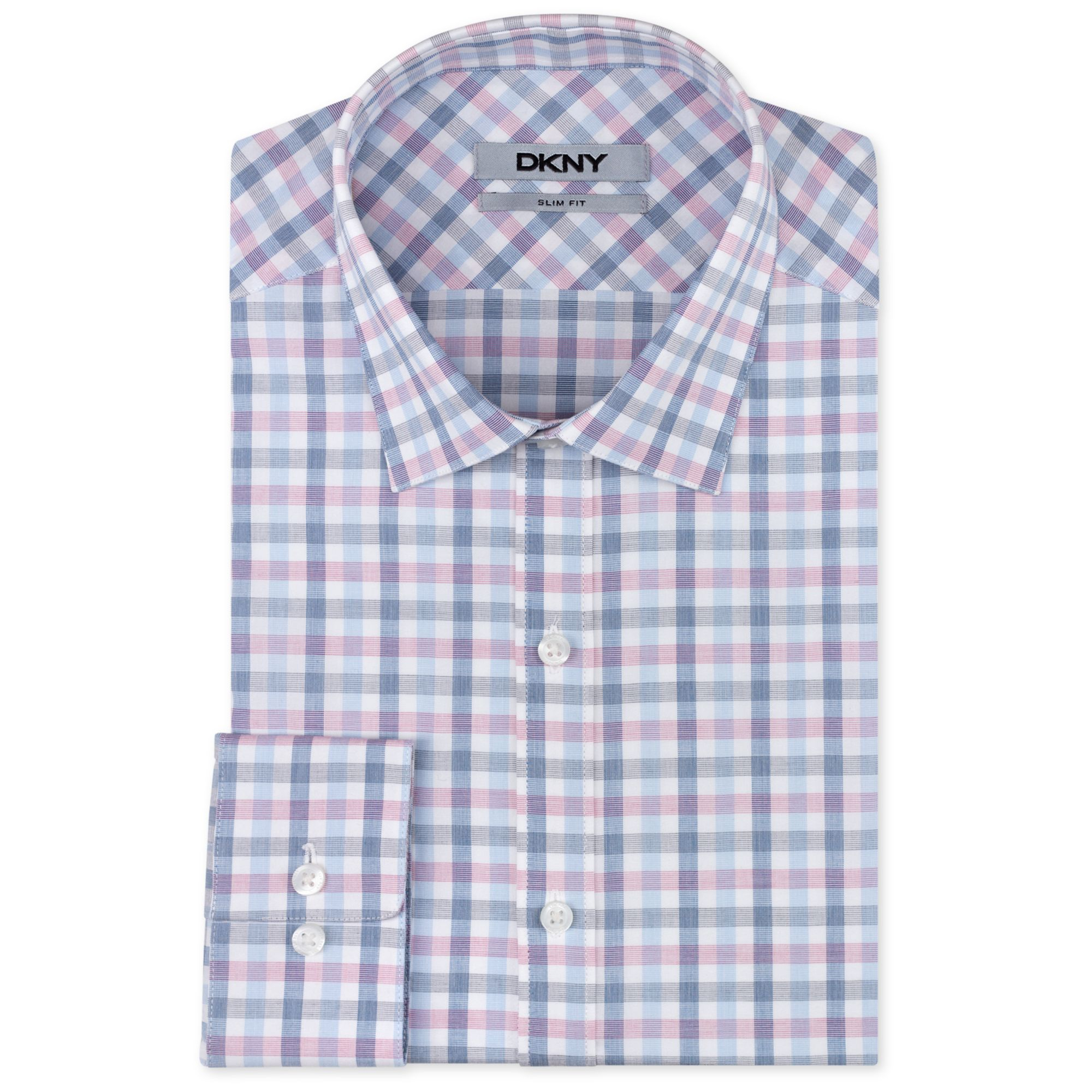 Dkny slim fit bold pink and blue check dress shirt in pink for Blue check dress shirt
