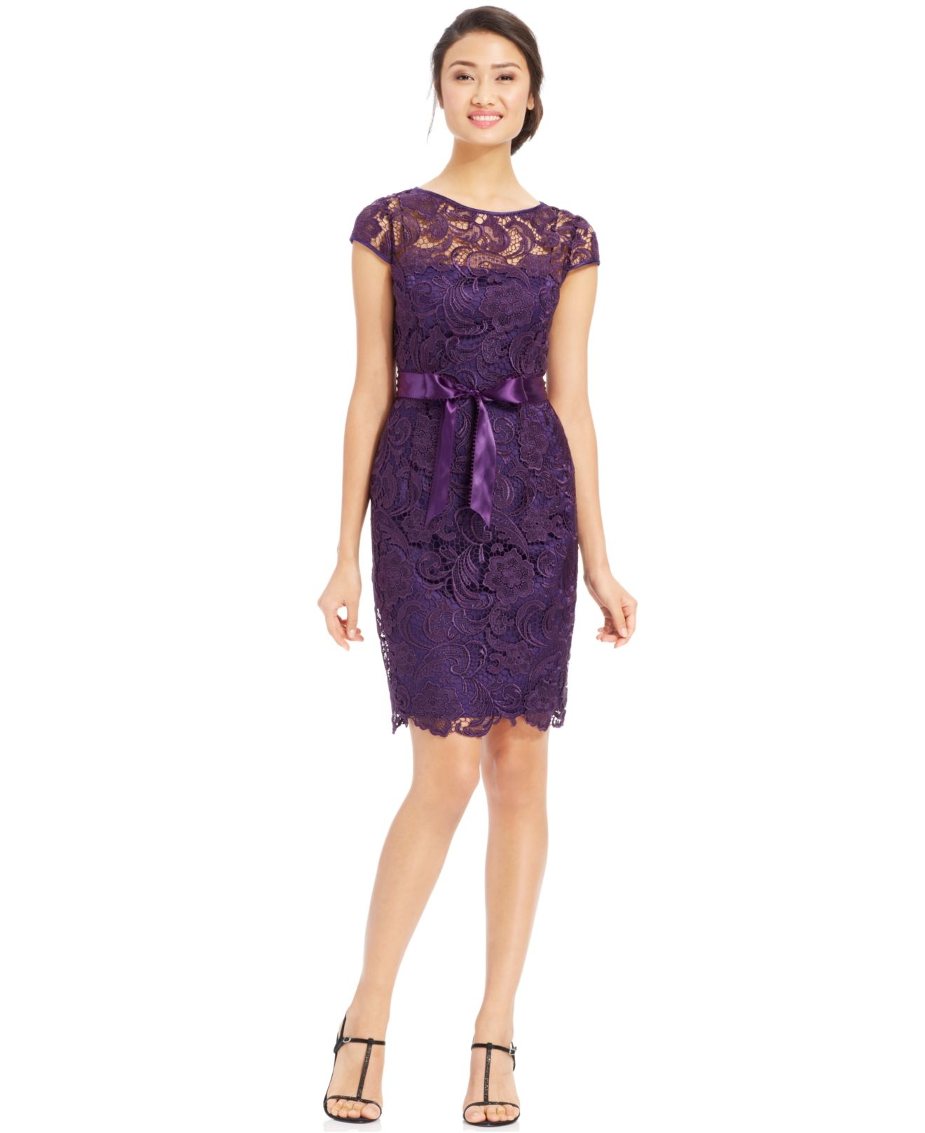 Adrianna Papell Cap-Sleeve Illusion Lace Sheath In