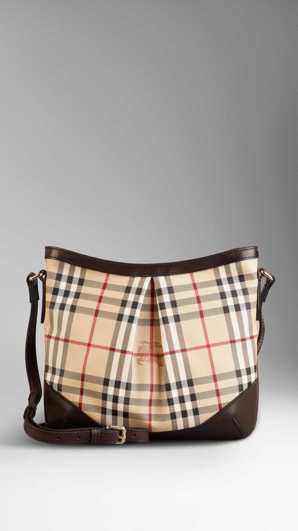 2eac92d5d7 Burberry Medium Haymarket Check Crossbody Bag in Brown - Lyst