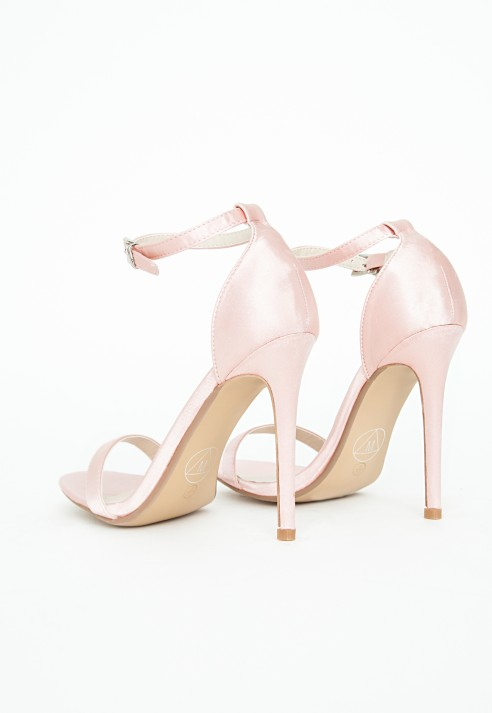 4d1060948de1 Lyst - Missguided Clara Strappy Heeled Sandals Pink Satin in Pink