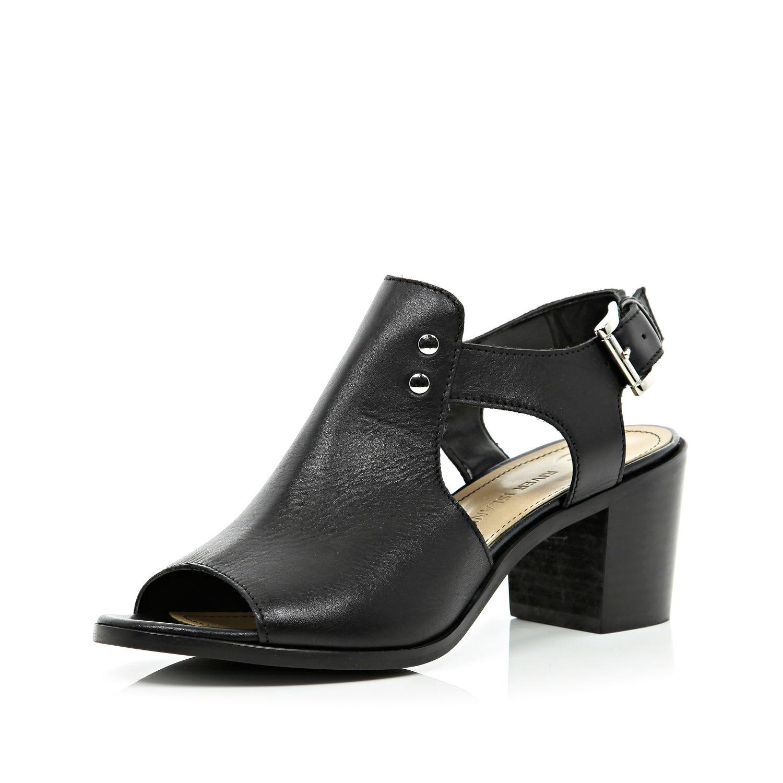 b78e3ab6e River Island Black Peep Toe Block Heel Sandals in Black - Lyst