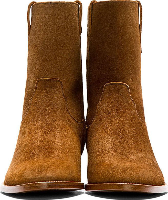 5a4318ce0a1 Saint Laurent Brown Suede Wyatt Cowboy Boots for men