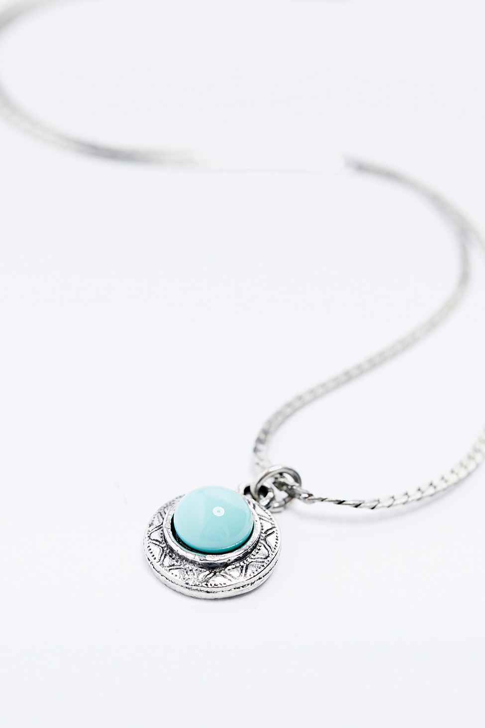 Urban Outfitters Turquoise Stone Choker In Silver in Metallic