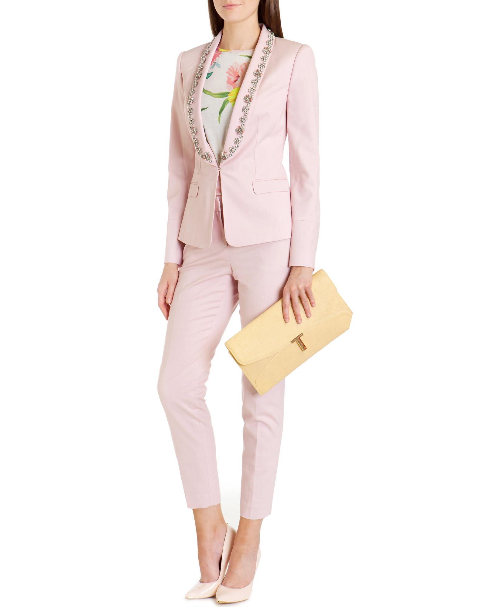 d9d32364c9abf Ted Baker Pastel Embellished Suit Jacket in Pink - Lyst