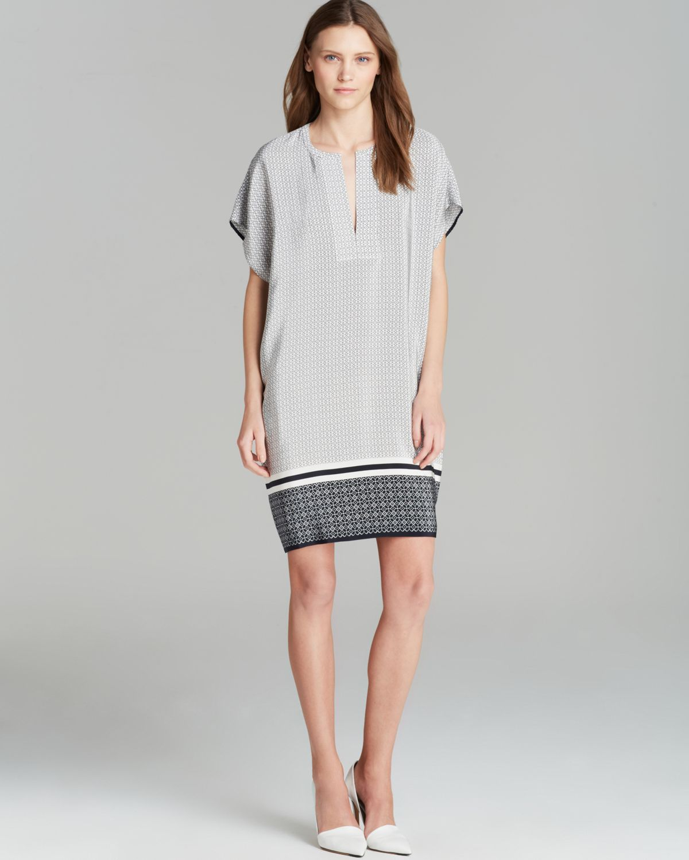 Lyst Vince Dress Printed Trapunto Silk