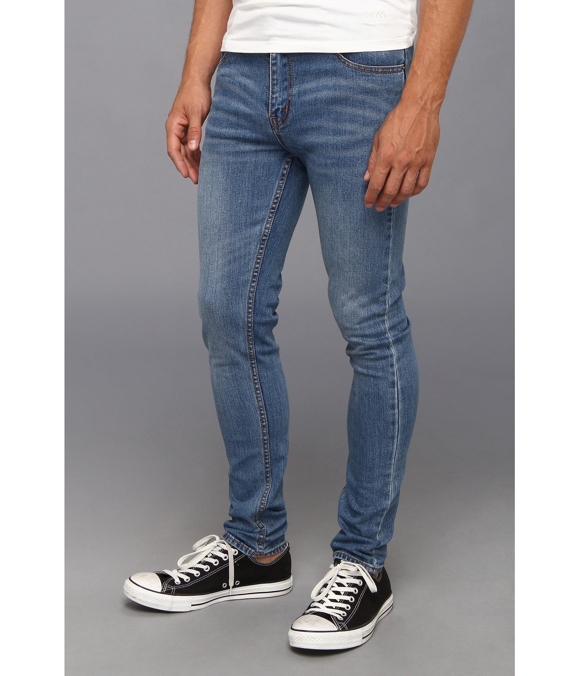 cheap monday tight skinny jeans pure blue in blue for men. Black Bedroom Furniture Sets. Home Design Ideas