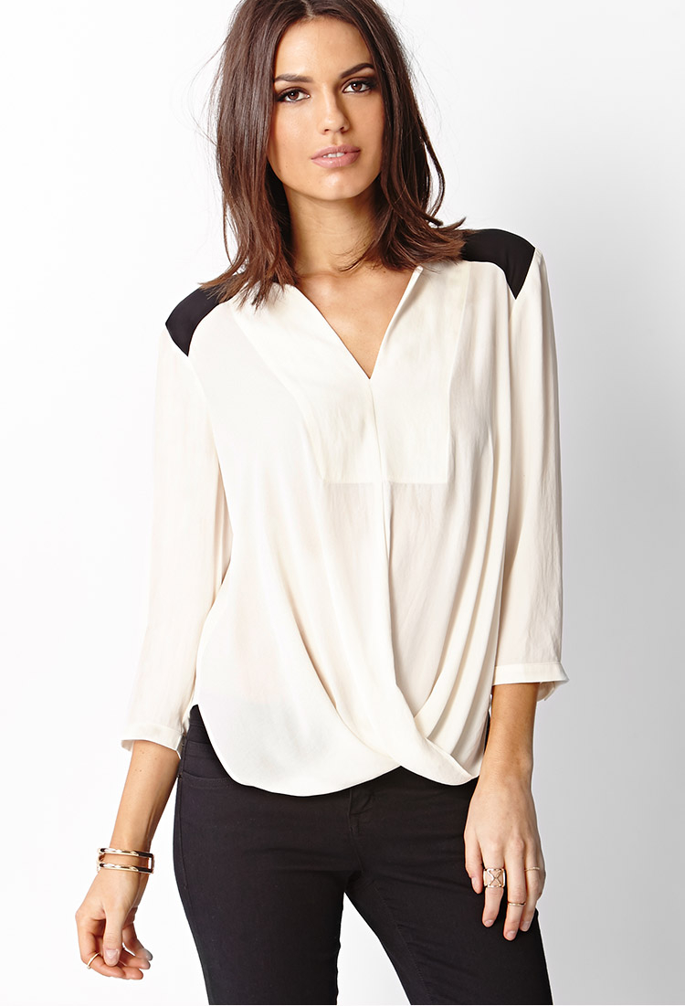 Forever 21 Contemporary Contrast Surplice Top In Cream