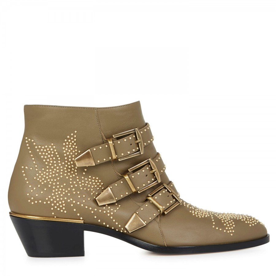 Chloé Susannah Studded Leather Ankle Boots in Brown (Natural)