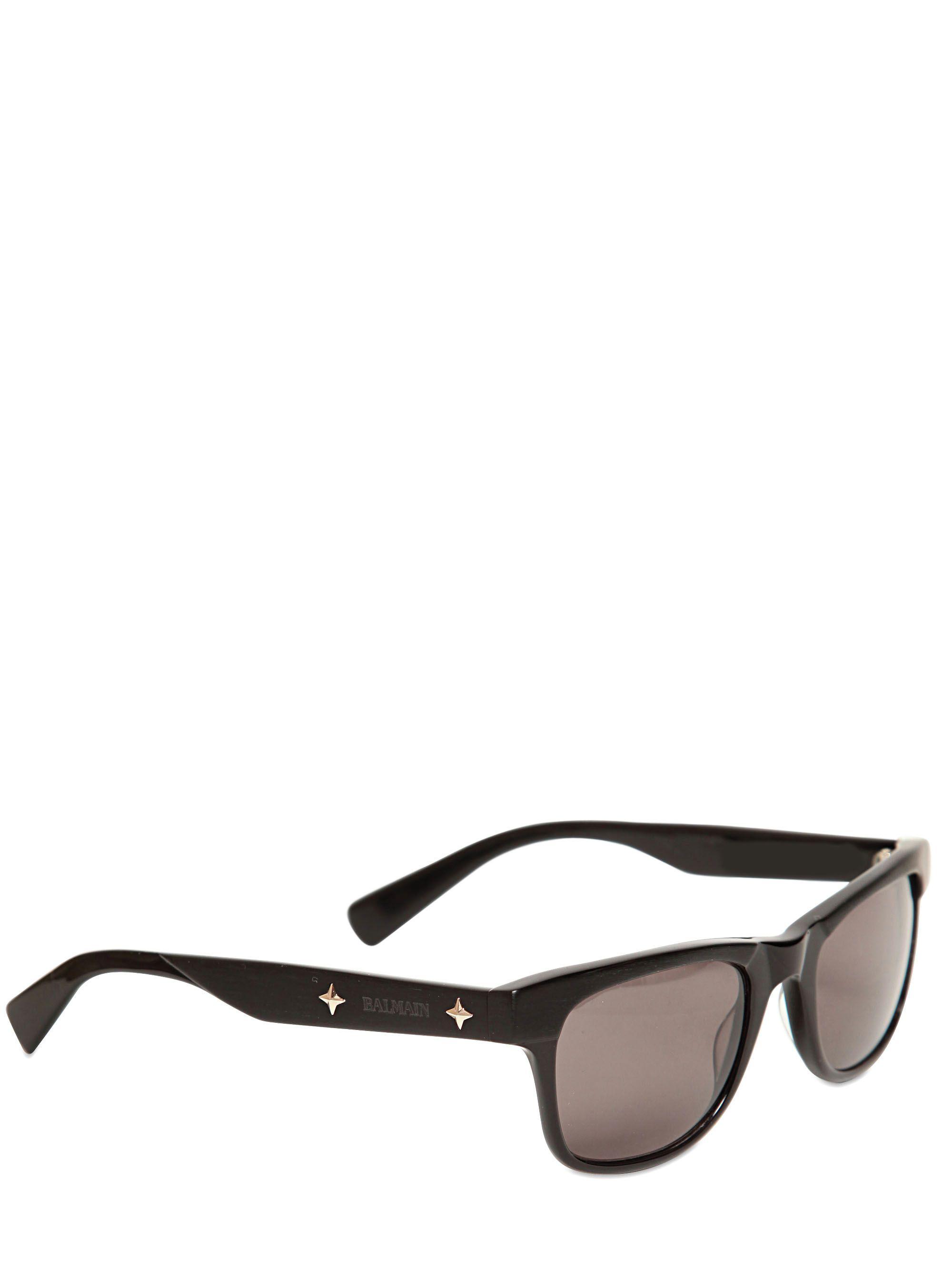 Balmain Metal Stars Logo Matt Acetate Sunglasses in Black for Men