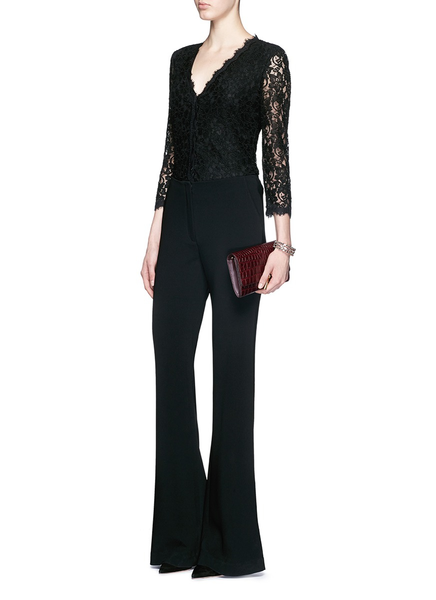 Diane von furstenberg 'bria' Floral Guipure Lace Cardigan in Black ...