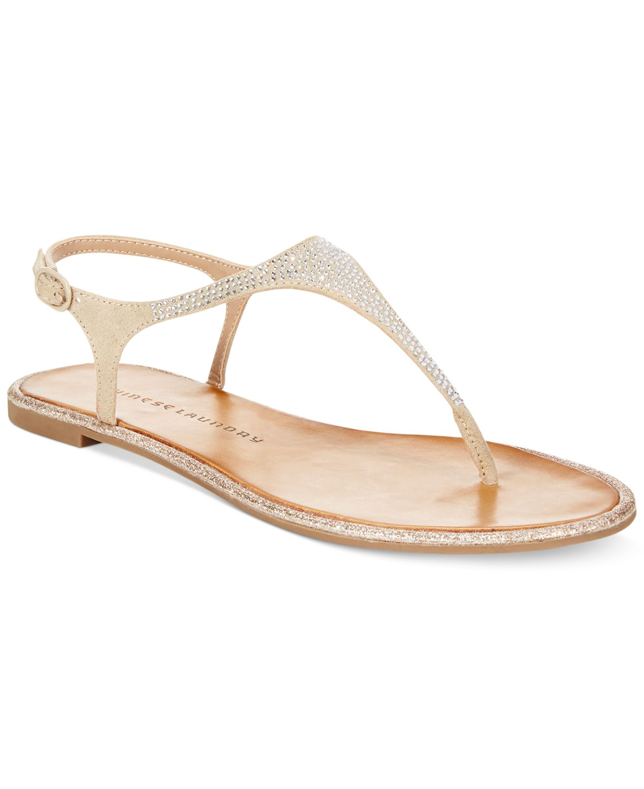6167c73693213 Lyst - Chinese Laundry Glam Rock Flat Thong Sandals in Natural