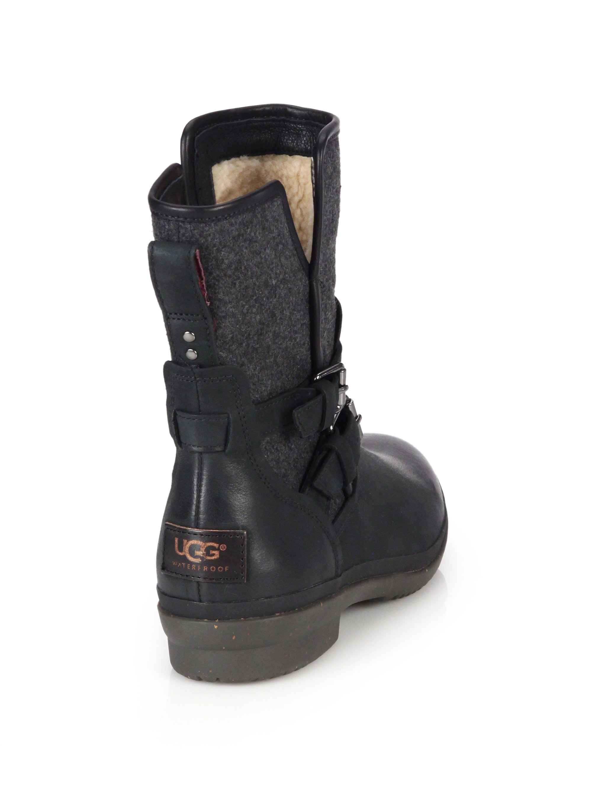 dcccd7877e9 UGG Black Simmens Leather & Felt Shearling-lined Boots