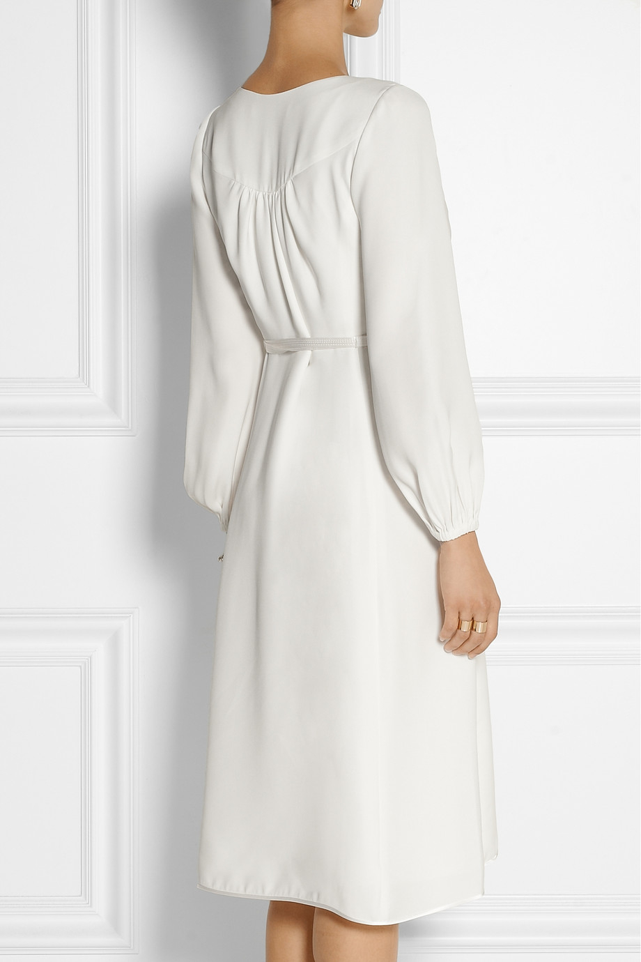 Marc Jacobs Silk Crepe Wrap Dress In White Lyst