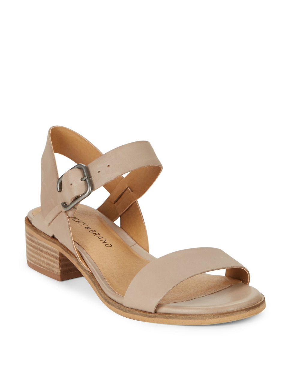 Lyst Lucky Brand Toni Leather Sandals In Natural