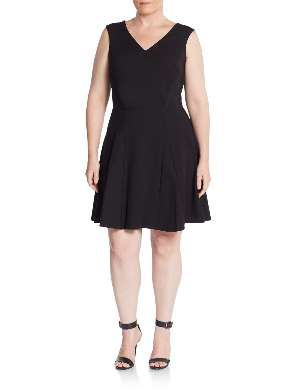 Lyst Abs Plus Size V Neck Fit And Flare Dress In Black