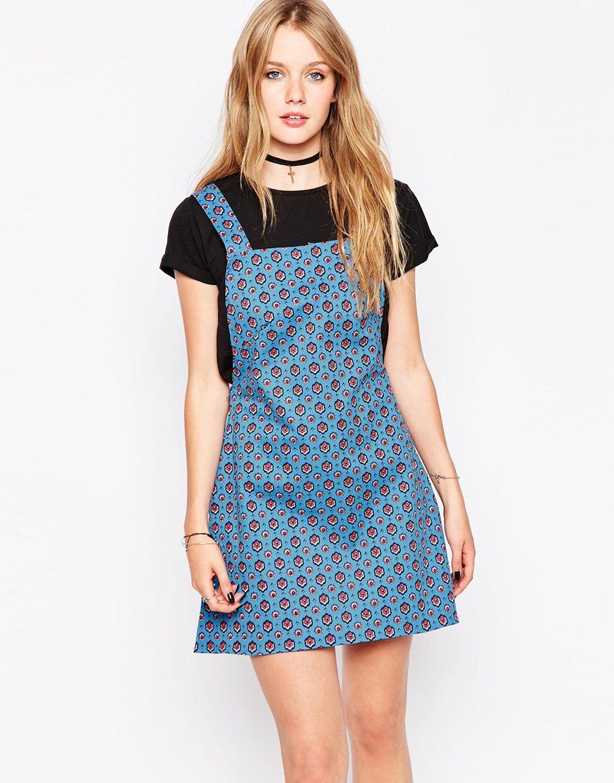 Lyst - Motel Nadine Pinnafore Dress In Windsor Print in Blue