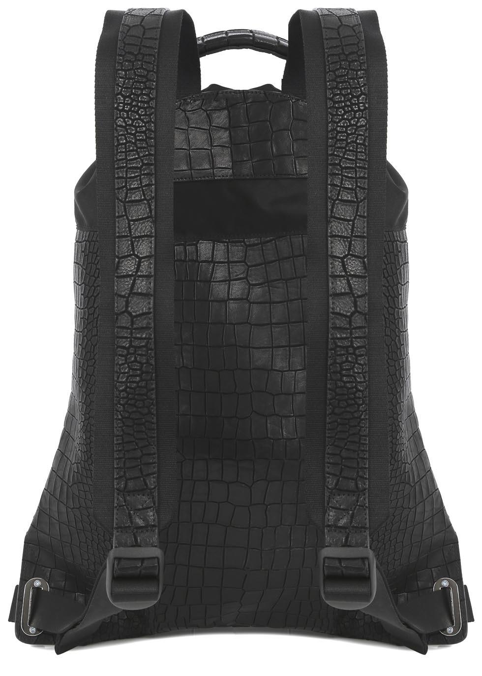 Kris Van Assche Black Crocodile Effect Leather Backpack for Men