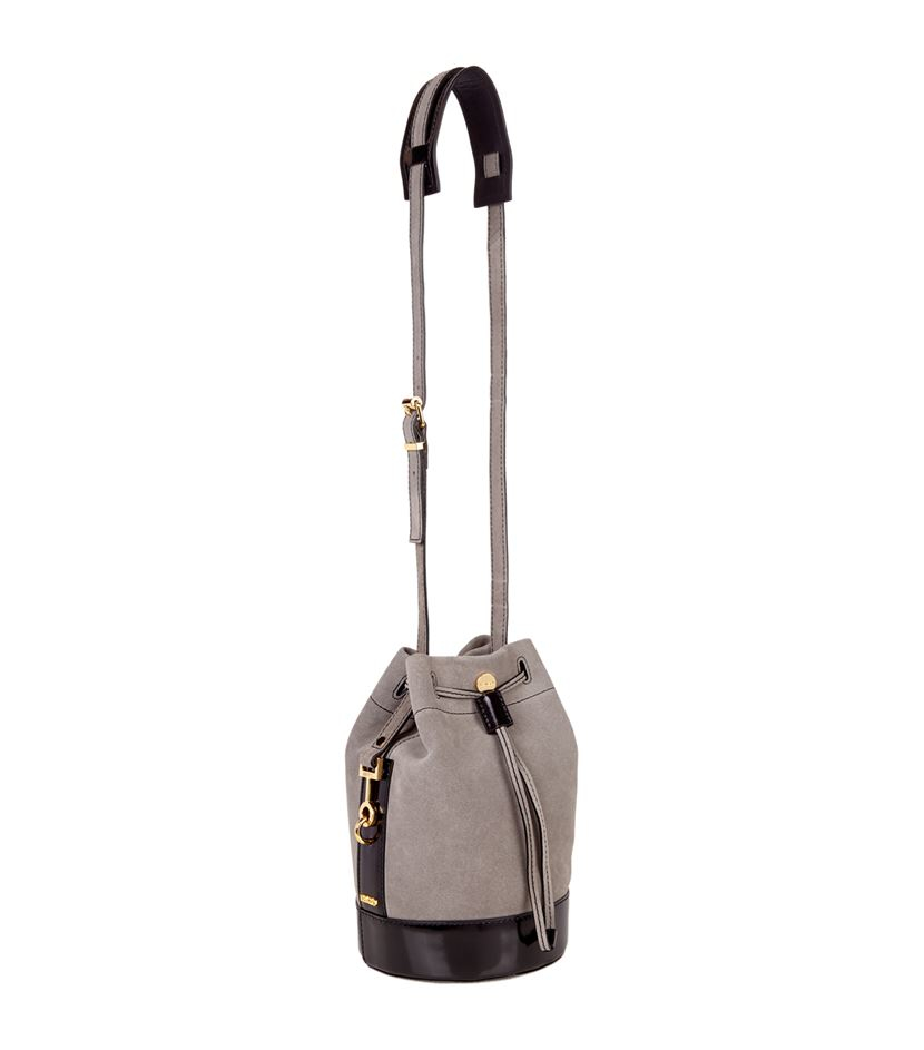 23a14a9a95 KENZO Mini Bike Suede Bucket Bag in Gray - Lyst
