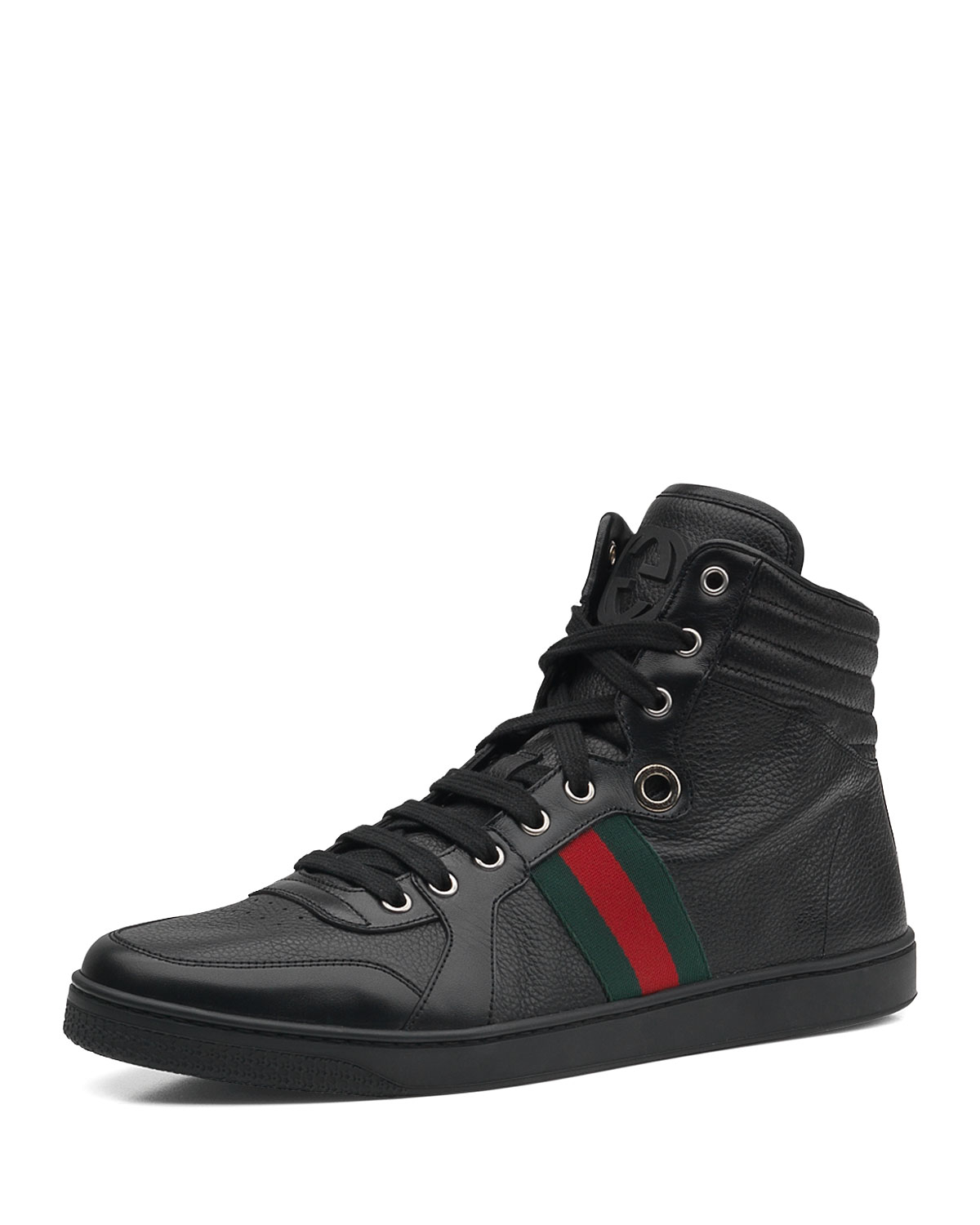 gucci leather hightop sneaker in black for men lyst