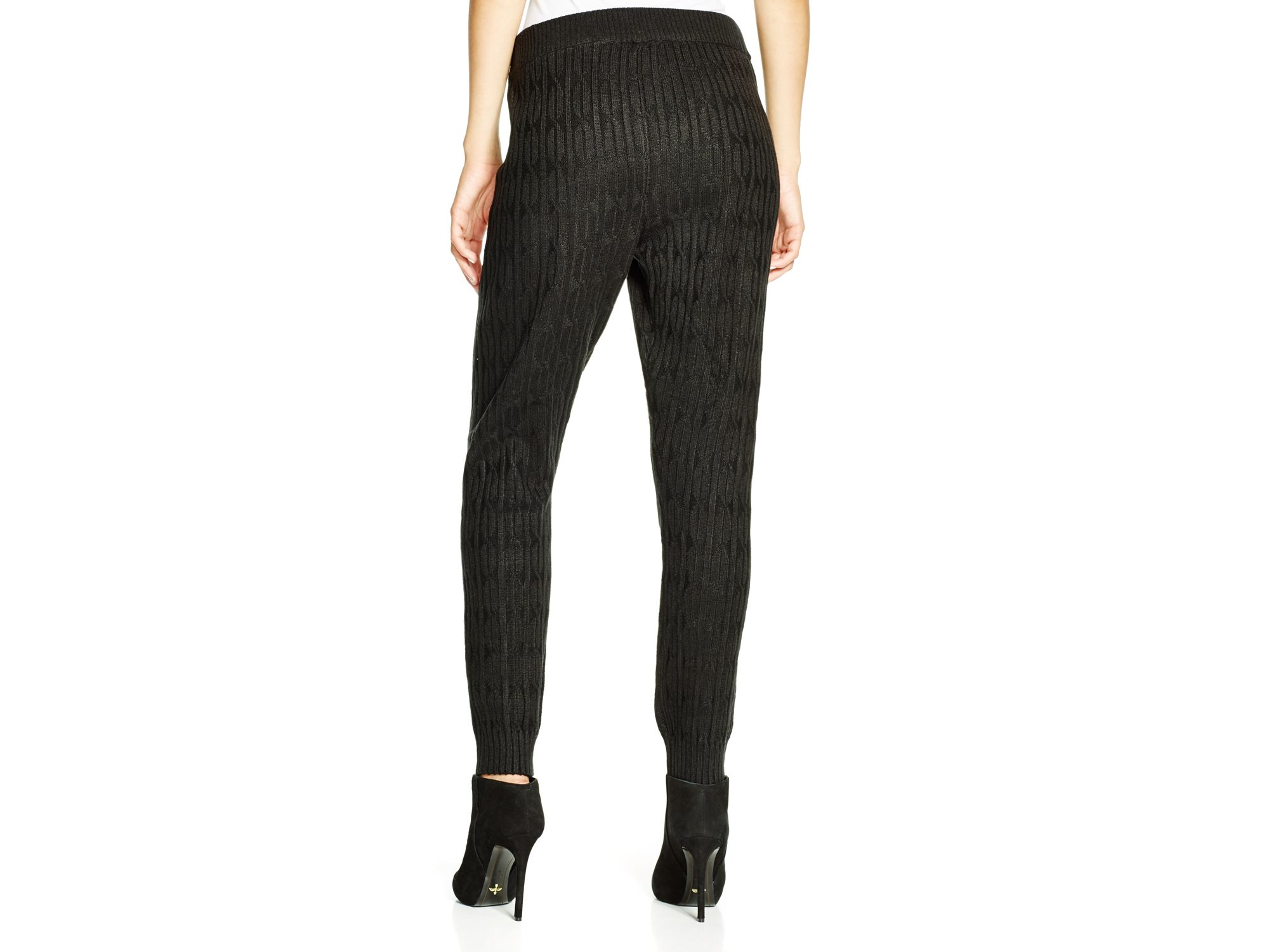 Lyst Hue Cable Sweater Relaxed Leggings In Black