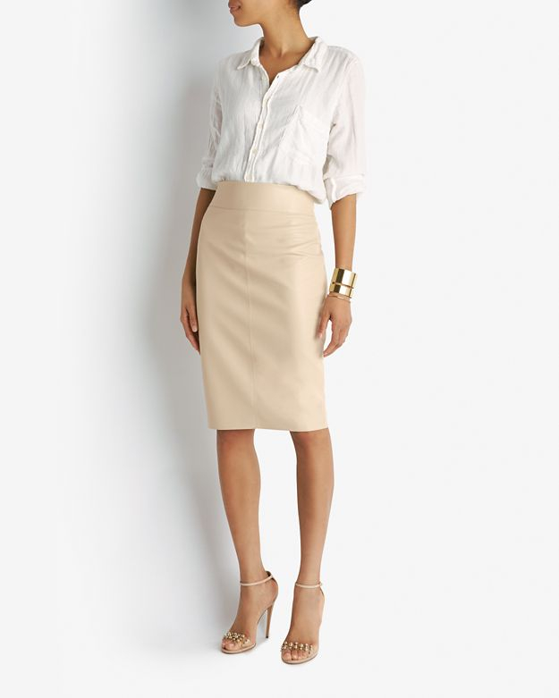 Bailey 44 Leather-Like Pencil Skirt: Nude in Natural | Lyst