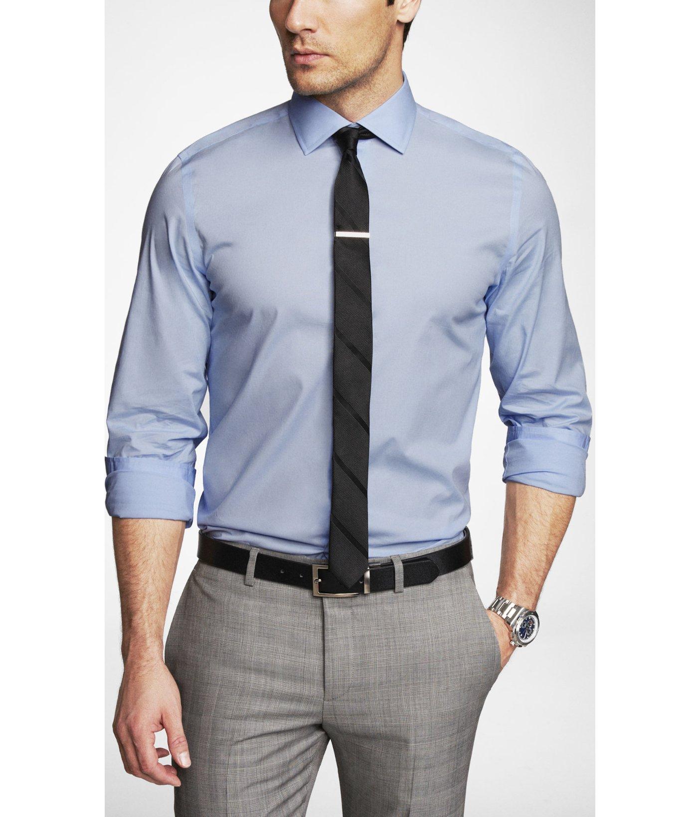 761e3c2fea Lyst - Express Modern Fit Spread Collar 1mx Shirt in Blue for Men