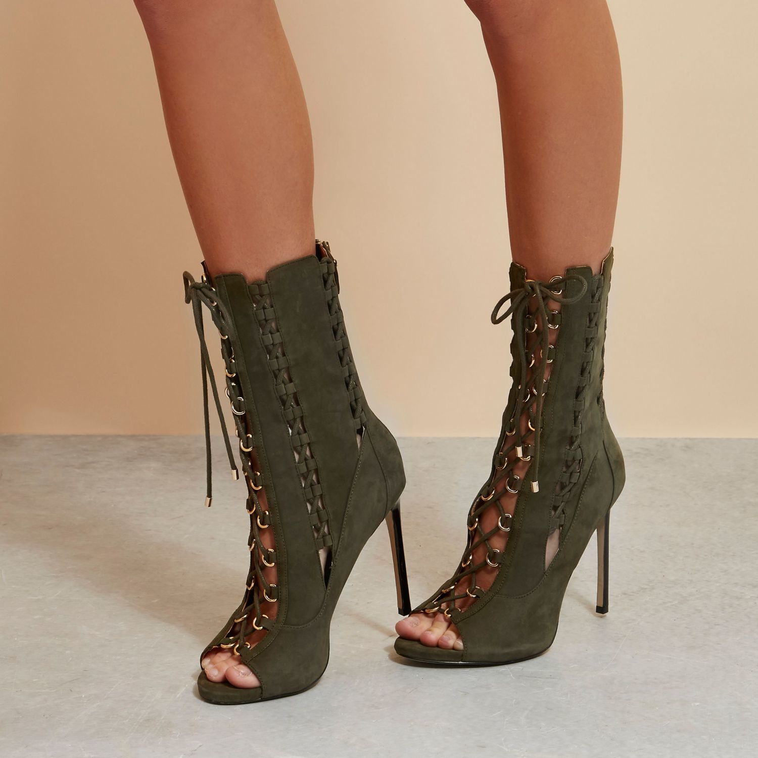 Leather Lace Up Heels - Is Heel