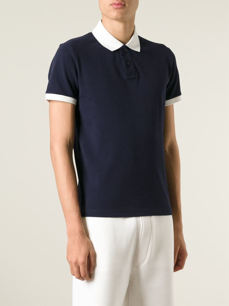 0d425199f Moncler Blue Contrast-Collar Polo Shirt for men